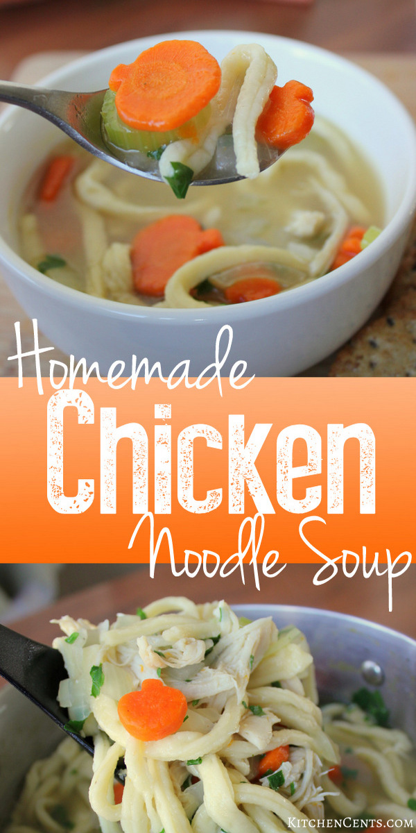 Homemade Chicken Noodle Soup with homemade noodles | Kitchen Cents