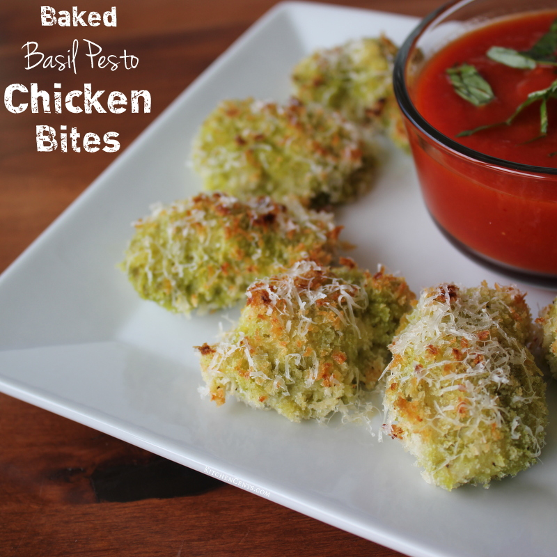 baked-basil-pesto-chicken-bites-with-marinara-dipping-sauce | kitchencents-com