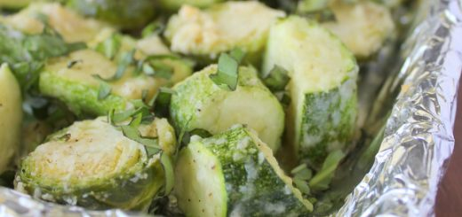 Roasted Basil Garlic Parmesan Brussel Sprouts and Zucchini | KitchenCents.com
