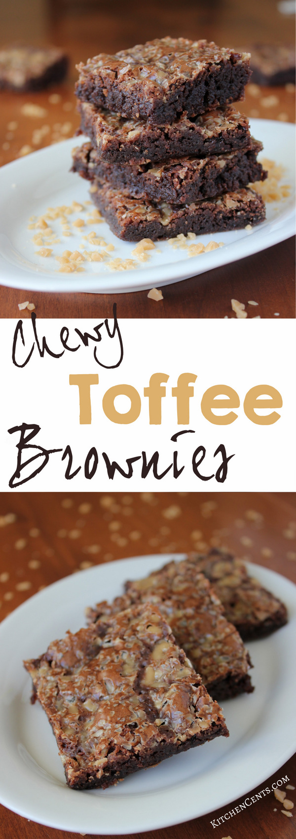 Easy Chewy Toffee Brownies | KitchenCents.com