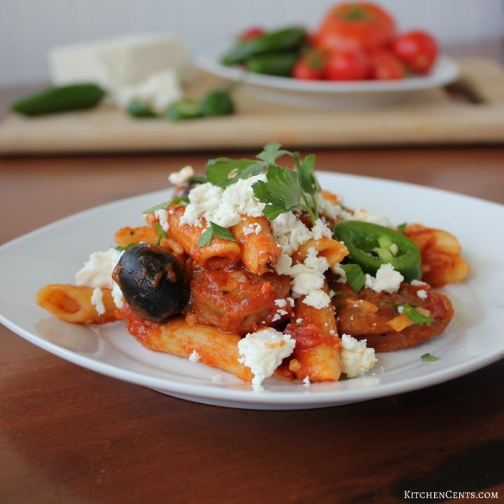 Spicy Sausage and Olive Pasta with Feta Cheese