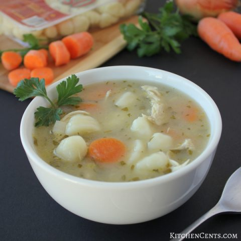 Chicken & Potato Gnocchi Soup with fresh herbs
