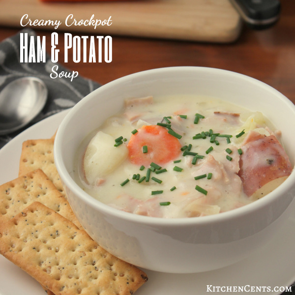 Creamy Crockpot Ham and Potato Soup | KitchenCents.com