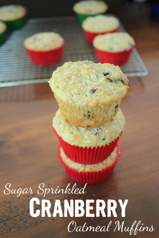 Easy Sugar Sprinkled Cranberry Oatmeal Muffins | KitchenCents.com