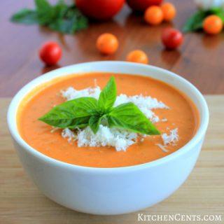 Creamy Roasted Tomato Basil Soup   KitchenCents.com