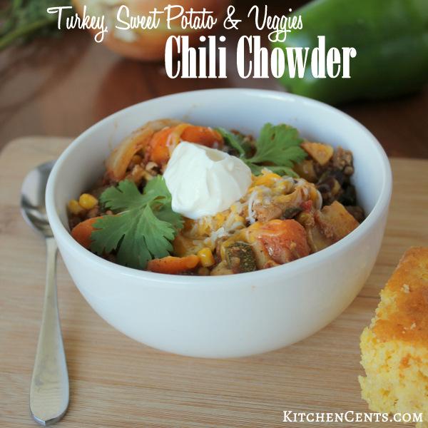 Slow Cooker Turkey, Sweet Potato and Veggies Chili Chowder | KitchenCents.com