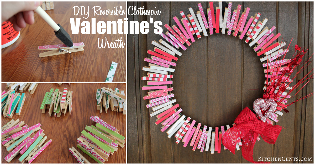 Diy Valentine S Clothespin Wreath Reversible To St Patty S Kitchen Cents