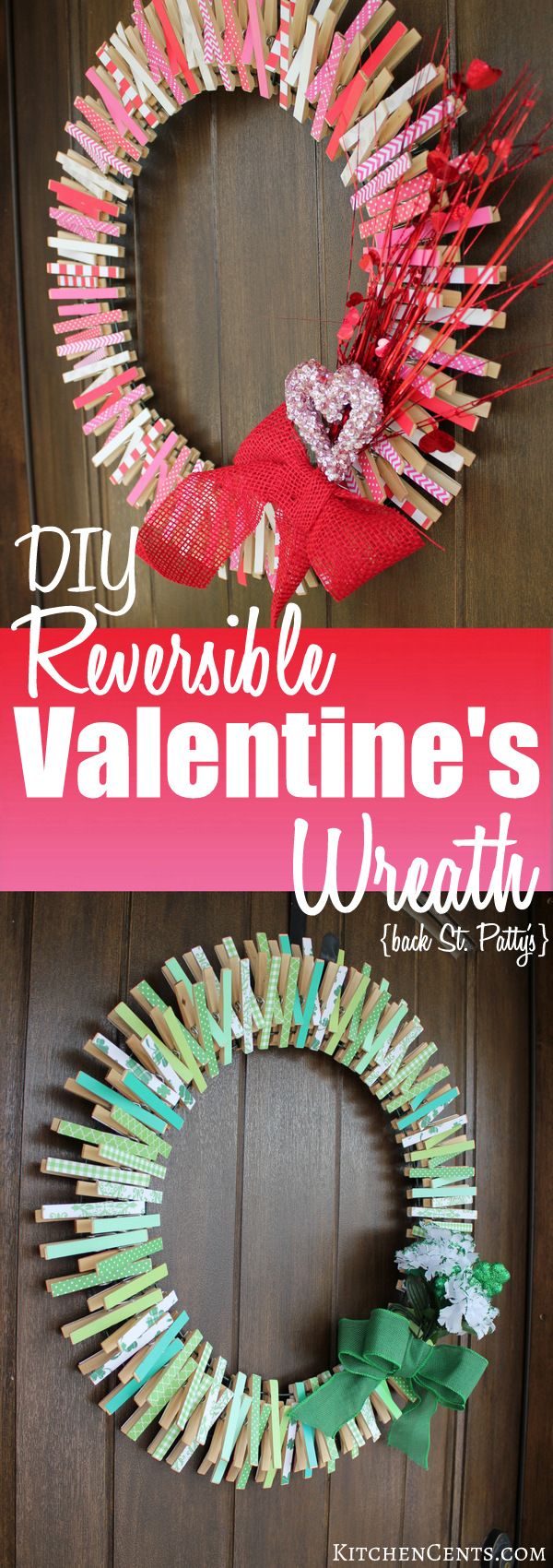 diy reversible clothespin valentines wreath st pattys