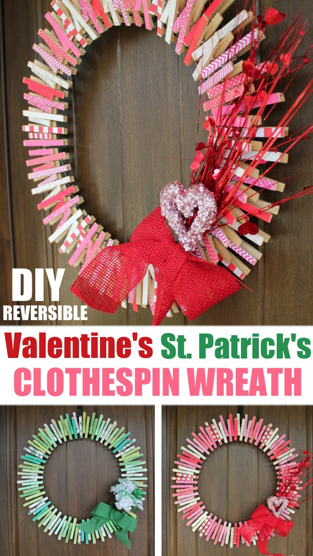 Easy DIY Valentines Clothespin Wreath | Kitchen Cents