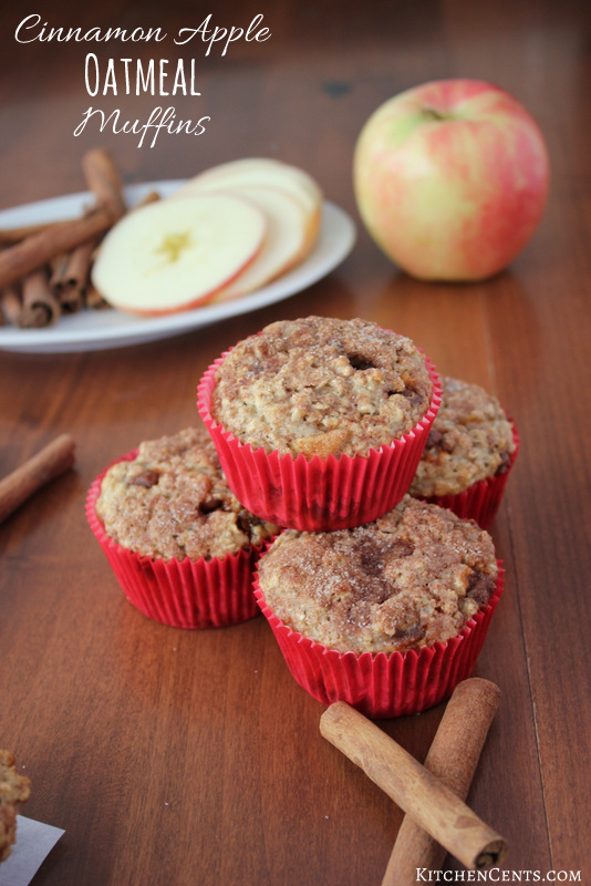 Easy Cinnamon Apple Oatmeal Breakfast Muffins | KitchenCents.com