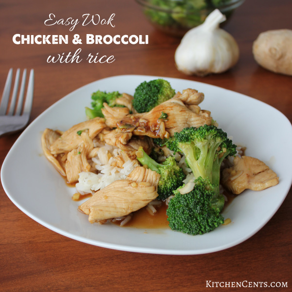 Easy Wok Chicken and Broccoli with rice | KitchenCents.com