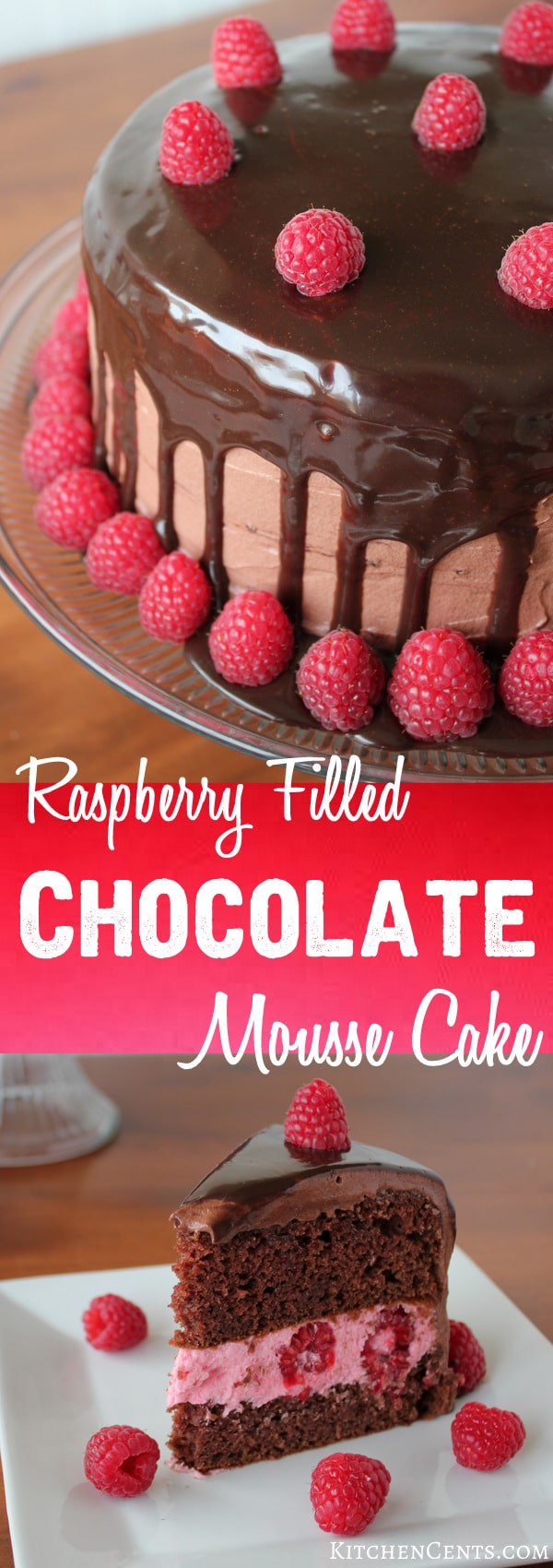 Raspberry Filled Chocolate Mousse Cake | KitchenCents.com