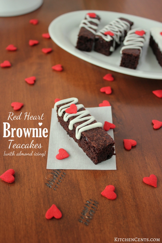 Red Heart Brownie Teacakes with almond icing | KitchenCents.com