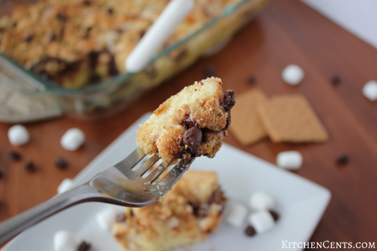 S'mores French Toast Bread Pudding | KitchenCents.com