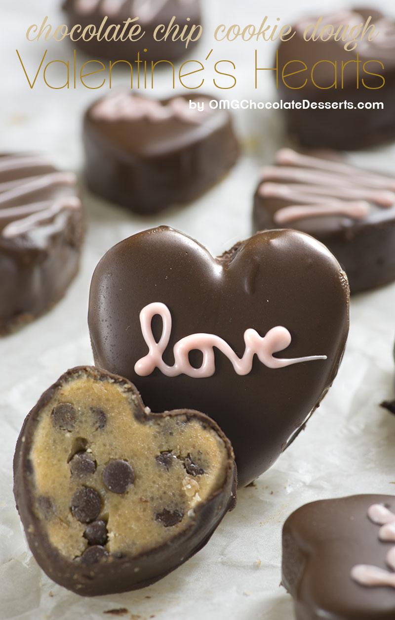 Chocolate Chip Cookie Dough Valentine's Hearts | 27+ Chocolate Valentine's Desserts
