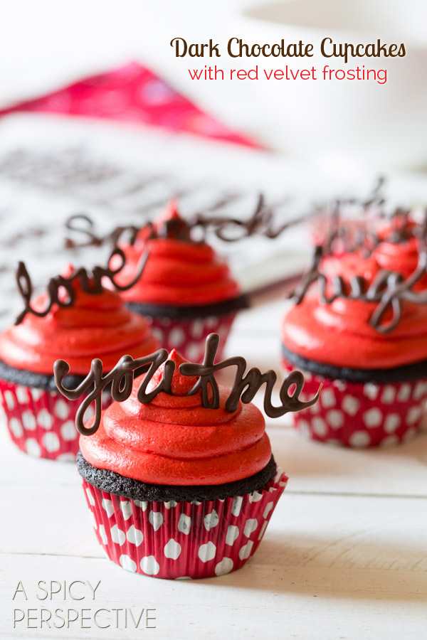 Chocolate Cupcake with Red Velvet Frosting | 27+ Chocolate Valentine's Desserts