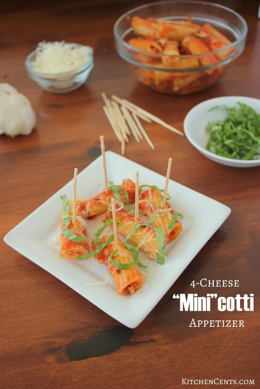 Easy 4-Cheese Manicotti Appetizer | KitchenCents.com