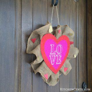 Easy Valentine's Glitter Heart Burlap Wreath Under Five Dollars | KitchenCents.com