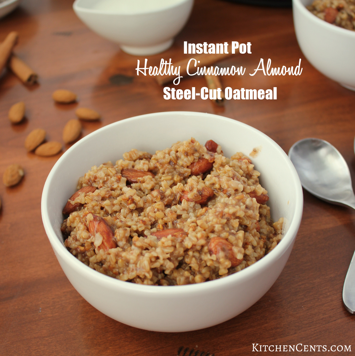 Instant Pot Healthy Cinnamon Almond Steel-Cut Oatmeal | KitchenCents.com