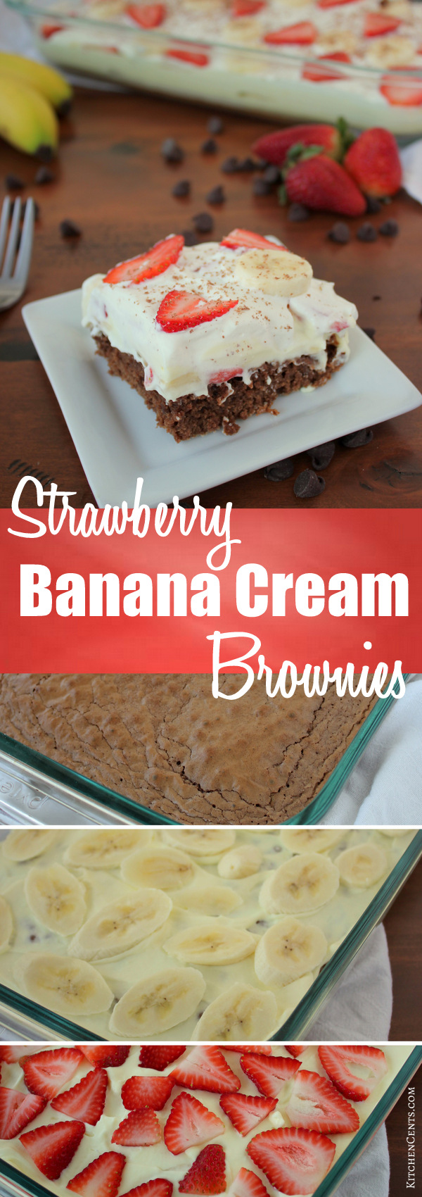 Easy Strawberry Banana Cream Brownies | KitchenCents.com