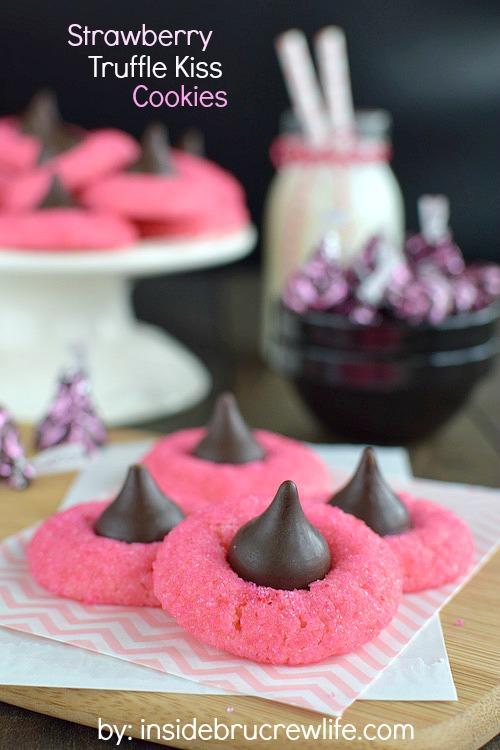 Strawberry Truffle Kiss Cookies | 27+ Chocolate Valentine's Desserts
