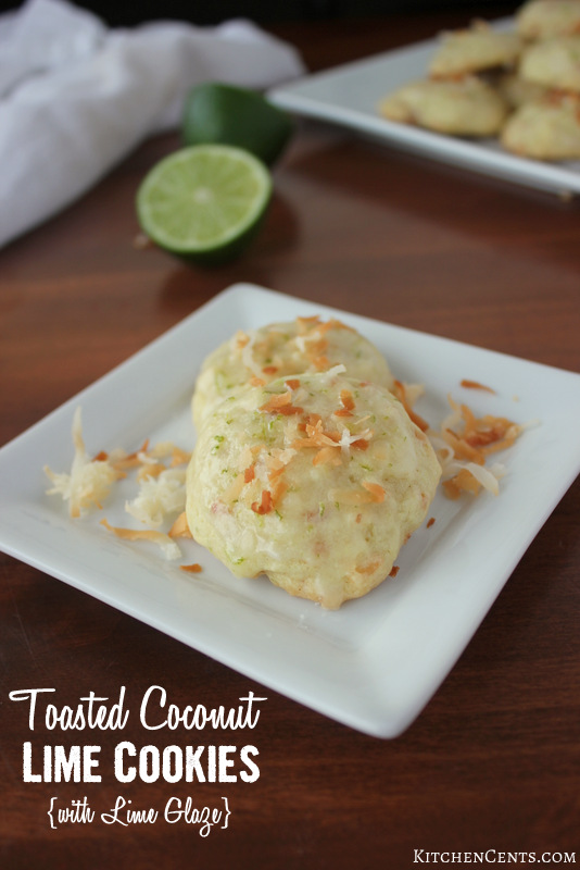 Toasted Coconut Lime Cookies with Lime Glaze | KitchenCents.com