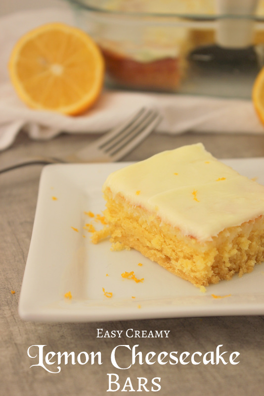 Easy Creamy Cake Mix Lemon Cheesecake Bars | KitchenCents.com