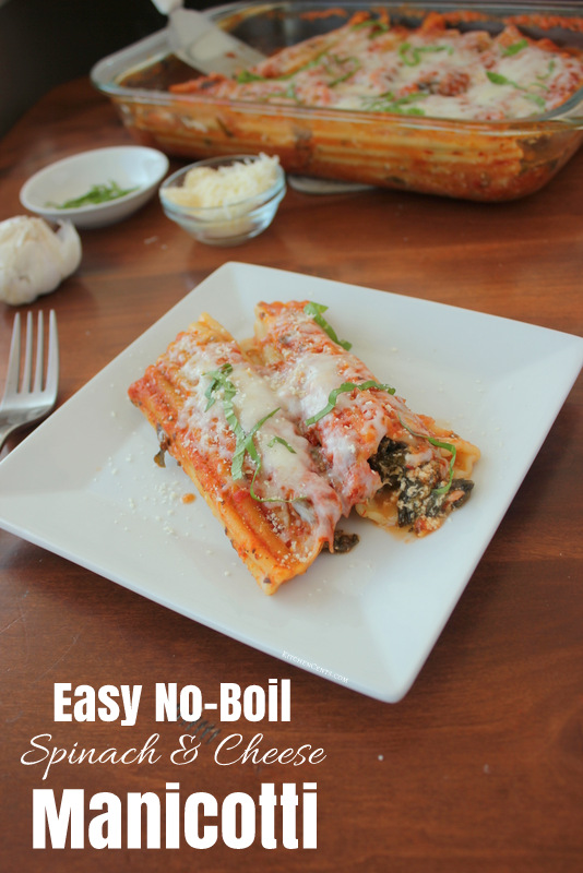 Easy No-Boil Spinach and Cheese Manicotti | KitchenCents.com