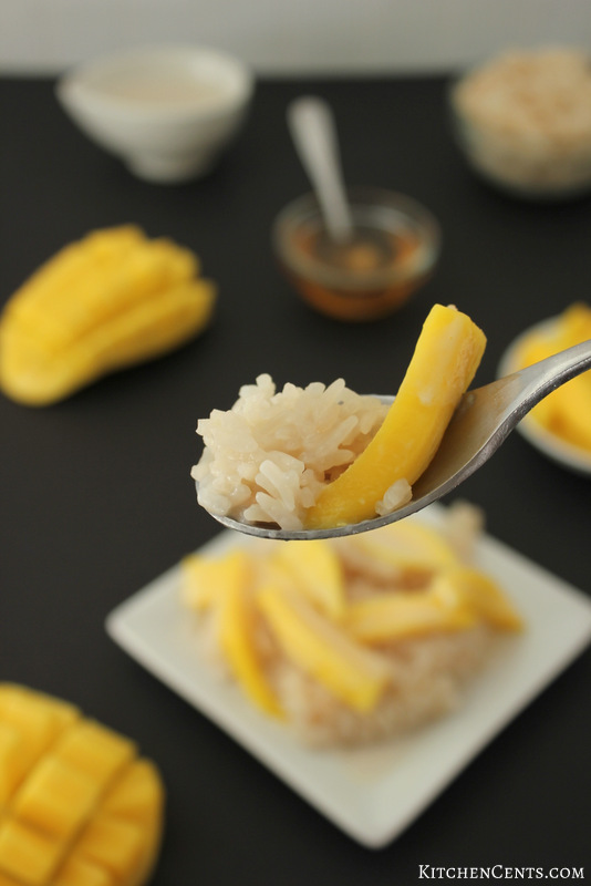 Easy Sweet Honey Coconut Rice and Fresh Mango | KitchenCents.com