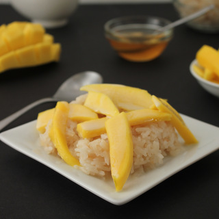 Easy Sweet Honey Coconut Rice and Fresh Mango | KitchenCents.com