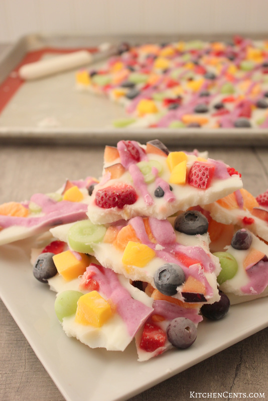 Healthy Frozen Yogurt Rainbow Fruit Bark | KitchenCents.com