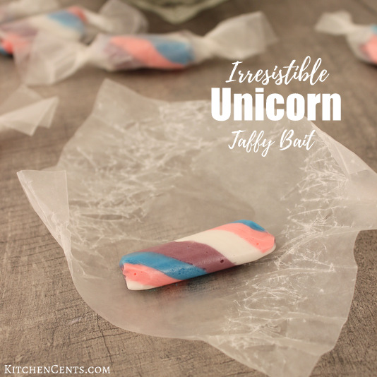 Homemade Irresistible Cotton Candy Unicorn Taffy Bait | KitchenCents.com