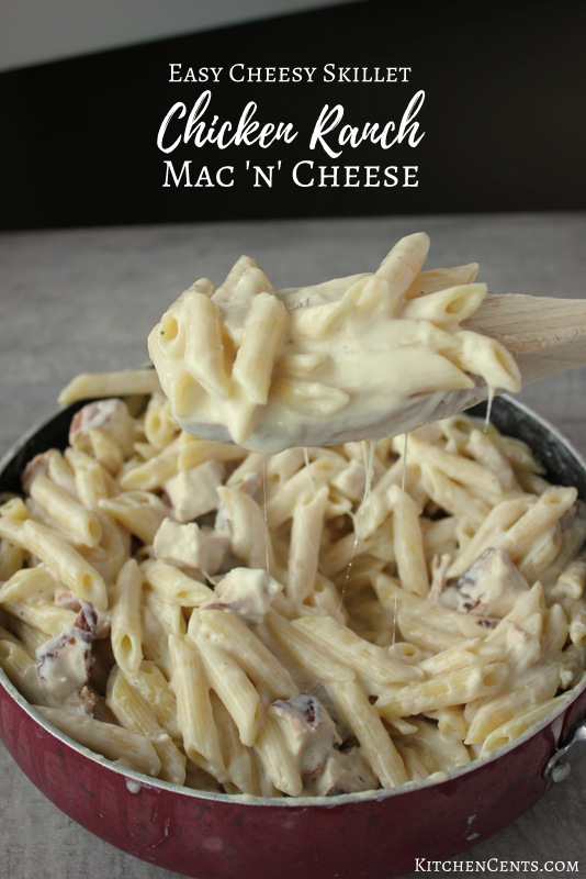 Easy Cheesy Skillet Chicken Ranch Mac 'n' Cheese | KitchenCents.com