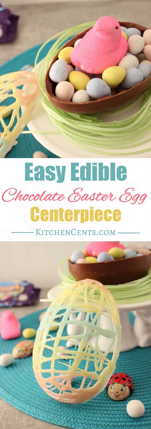 Easy Edible Chocolate Easter Egg Centerpiece | KitchenCents.com