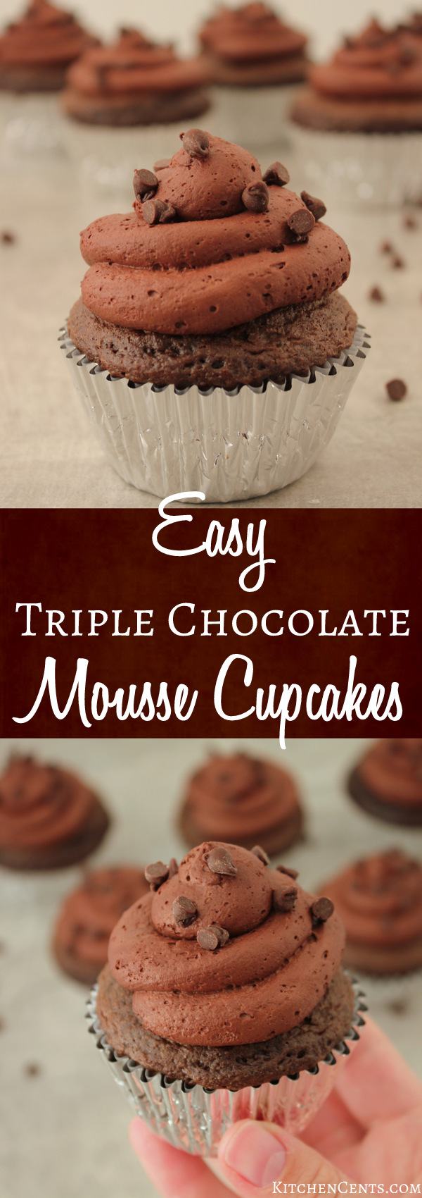 Easy Triple Chocolate Mousse Cupcakes | KitchenCents.com