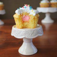 Gender Reveal Lemon Almond Surprise Cupcakes