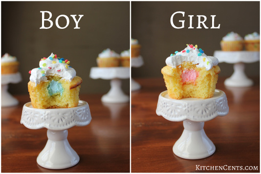 Boy Girl Cupcake surprise | Kitchen Cents
