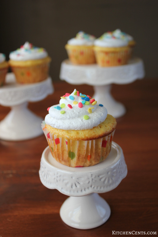 Gender Reveal Lemon Almond Surprise Cupcakes | Kitchen Cents