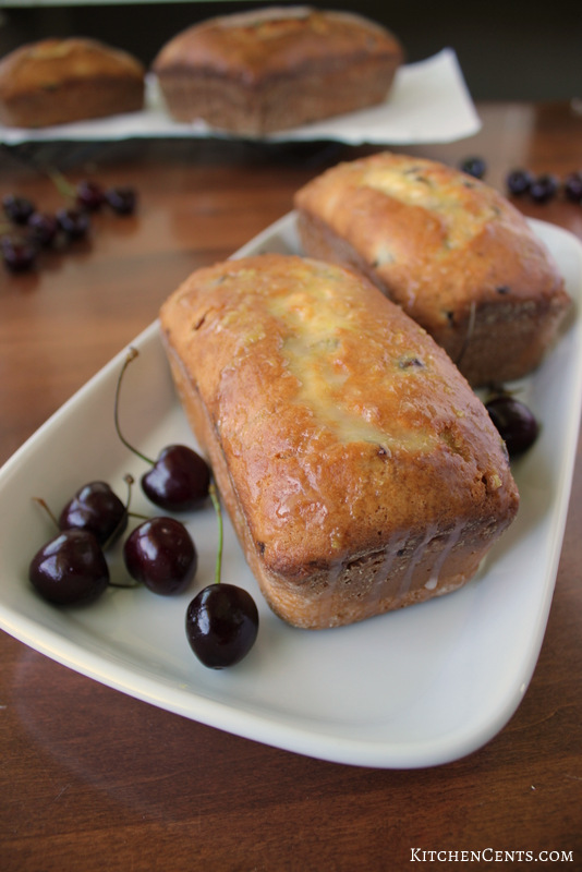 Lemon Cream Cheese Filled Cherry Bread with Lemon glaze | Kitchen Cents