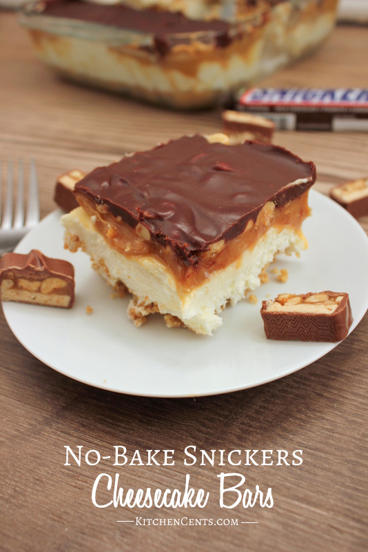 No-Bake Snickers Cheesecake Bars | Kitchen Cents