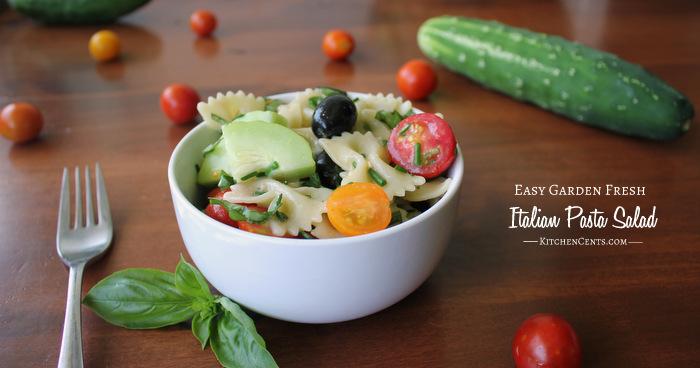 Easy Garden Fresh Italian Herb Pasta Salad | Kitchen Cents