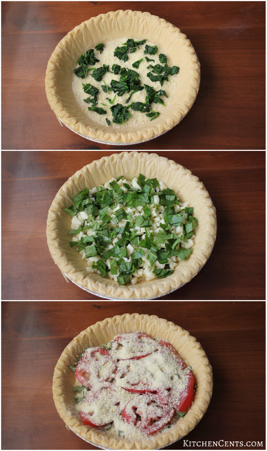 Layer ingredients into ready made pie crust