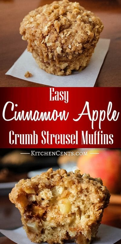 Cinnamon Apple Streusel Muffins made with pancake mix