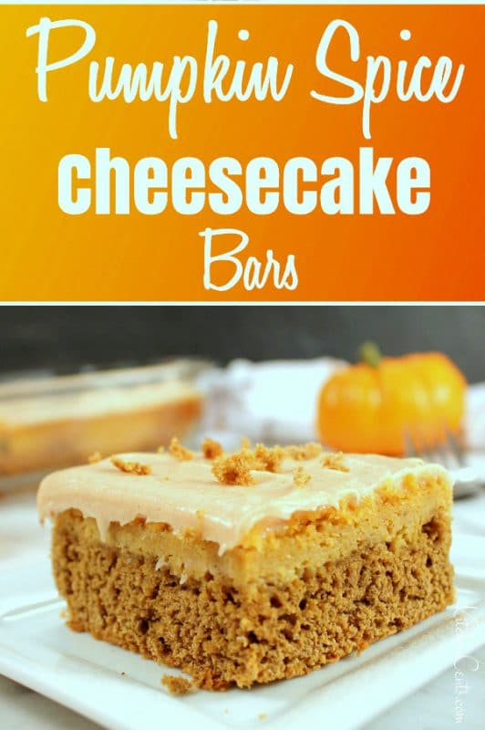 Easy Spiced Pumpkin Cheesecake Bars perfect fall dessert recipe | Kitchen Cents