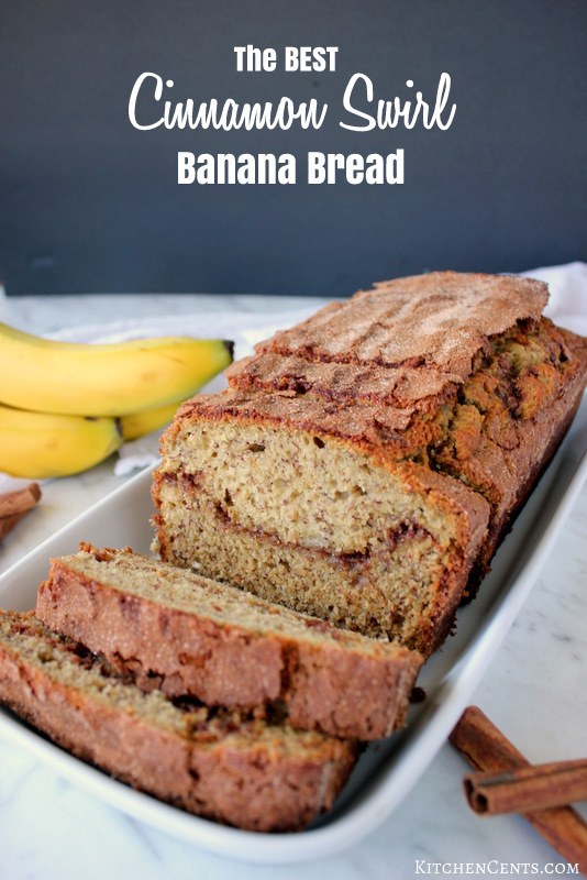 The BEST Cinnamon Swirl Banana Bread | Kitchen Cents