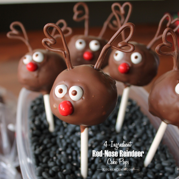 4-Ingredient Red-Nose Reindeer Cake Pops | Kitchen Cents