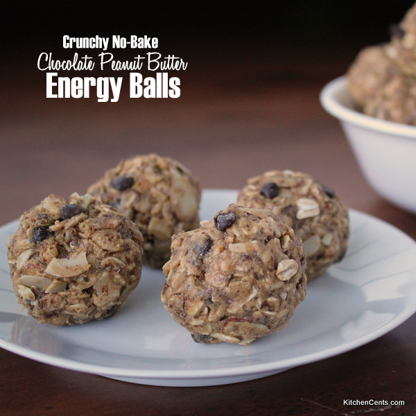 Easy Crunchy No-Bake Chocolate Peanut Butter Energy Balls | Kitchen Cents