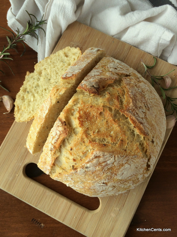 Easy 6-Ingredient No-Knead Crusty Rosemary Garlic Artisan Bread | Kitchen Cents