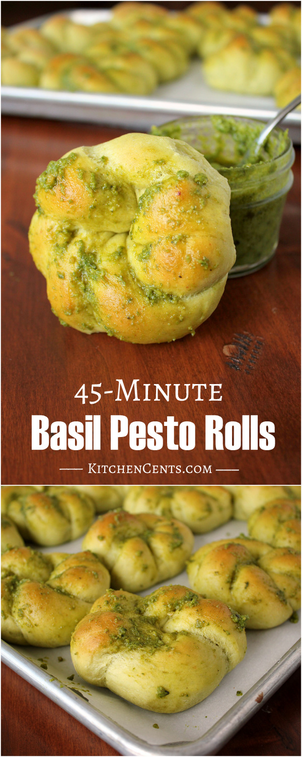 Easy 45-Minute Basil Pesto Quick Rolls | Kitchen Cents