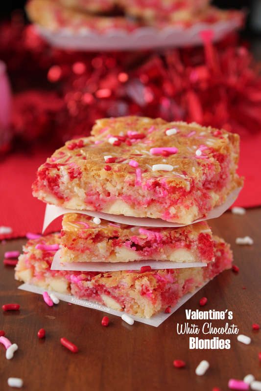 Easy Valentine's White Chocolate Blondies | Kitchen Cents